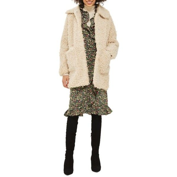 Women's Topshop Curly Faux Fur Coat (3.650 CZK) ❤ liked on Polyvore featuring outerwear, coats, cream, topshop coats, fake fur coat, imitation fur coats, top coat and cream coat