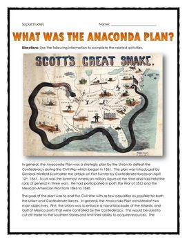 Civil War - Anaconda Plan - Reading and Questions with Key - this 4 page Civil War resource contains a 2 page reading and set of questions related to the Anaconda Plan of Winfield Scott during the Civil War. The 2 page reading contains information about the goals, objectives and outcome of the Anaconda Plan and the impact it would have had on the overall Civil War.