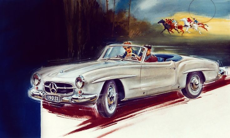 Advertisements and posters from the many decades of Mercedes-Benz's history bear…