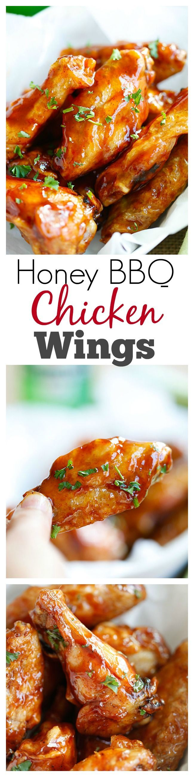 Honey BBQ Chicken Wings – 3 ingredients, no deep-frying, the easiest and crispiest chicken wings ever with sweet honey bbq sauce | rasamalaysia.com #wings