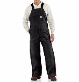 "Carhartt Size 36"" X 32"" Black Cotton/Duck Flame-Resistant Bib Overalls With Insulated Lining - Zipper Closure - Ankle-To-Thigh Brass Leg Zippers With Nomex Fr Zipper Tape - Protective Flaps With Arc-Resistant Snap Closures"