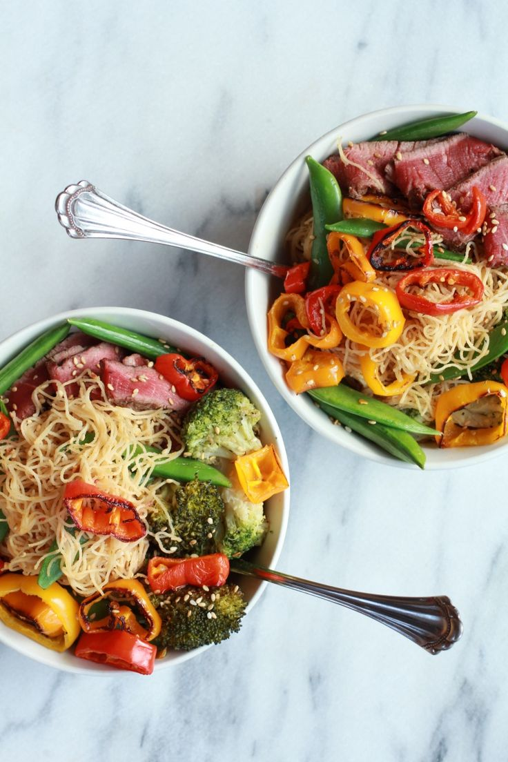Asian Veggie Noodle Bowl with Grilled Steak