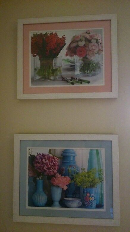 Prints taken from calendars and framed