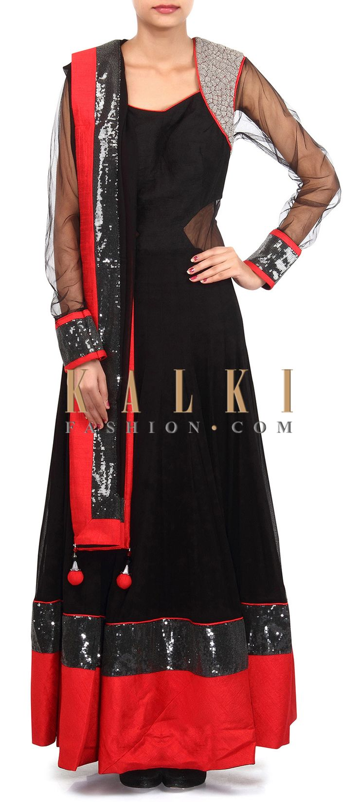 Buy Online from the link below. We ship worldwide (Free Shipping over US$100). Product SKU - 305683.Product Link - http://www.kalkifashion.com/black-anarkali-suit-adorn-in-zari-embroidery-only-on-kalki-18746.html