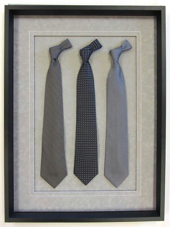 Special ties for groom in a shadowbox.
