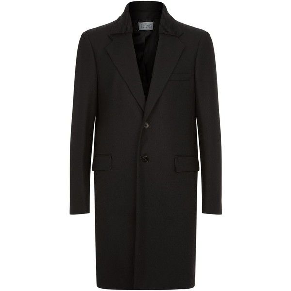 Maison Margiela Wool Overcoat (€1.610) ❤ liked on Polyvore featuring men's fashion, men's clothing, men's outerwear, men's coats, mens single breasted pea coat, mens wool outerwear, mens wool coats, mens fur lined coat and mens single breasted wool coat