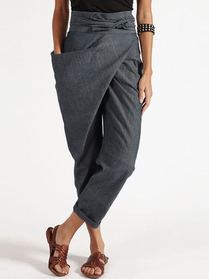 Women Zipper Casual Belt Harem Pants Irregular Loo…