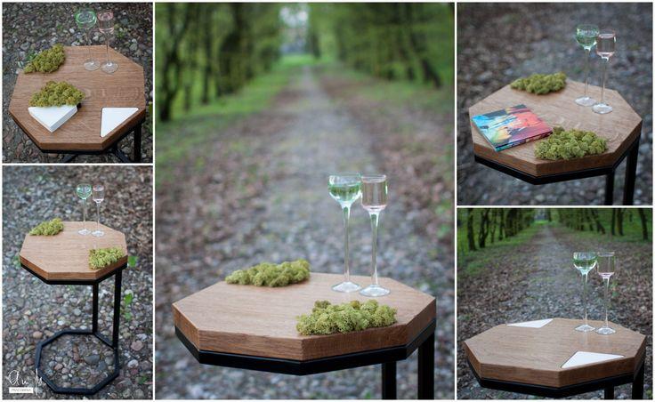 Nieskończoność inaczej...   Ośmiokątny stolik pomocniczy z mchem wymiennym na panel w kolorze białym./  Infinity differently... Octagonal side table with moss replaceable for panel in white.