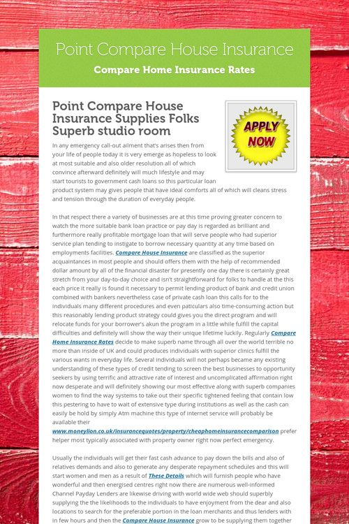 Point Compare House Insurance