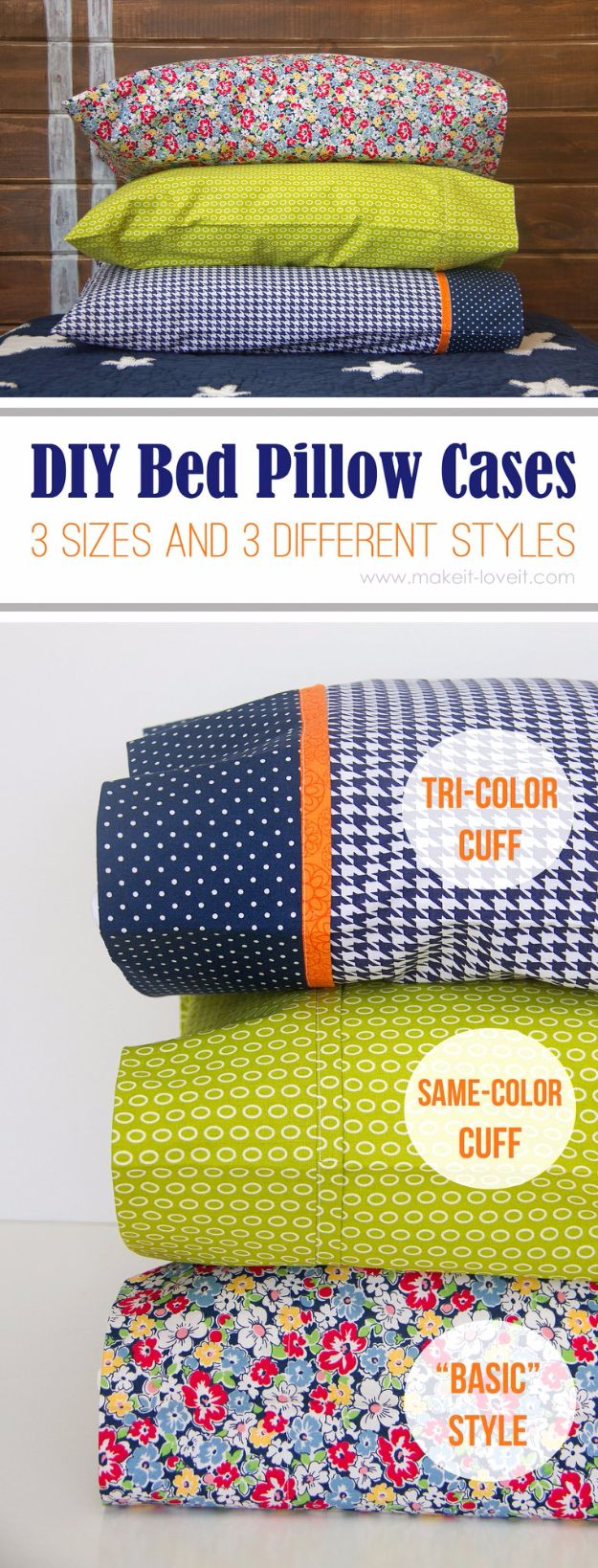 DIY Pillowcases - DIY Bed Pillow Cases - Easy Sewing Projects for Pillows - Bedroom and Home Decor Ideas - Sewing Patterns and Tutorials - No Sew Ideas - DIY Projects and Crafts for Women http://diyjoy.stfi.re/sewing-projects-diy-pillowcases