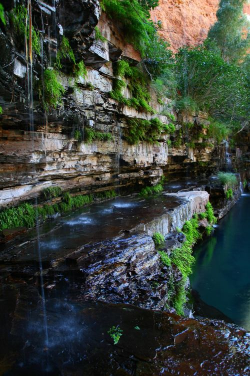 beautiful, ancient sedimentary rock, flowing  falling waters. Do any of you know where this is?