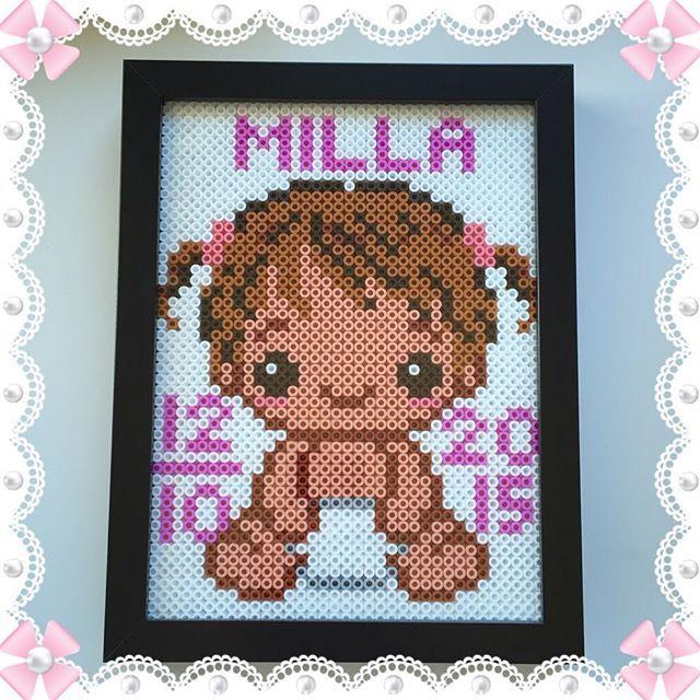 Custom baby girl frame  hama beads by design_by_sofia