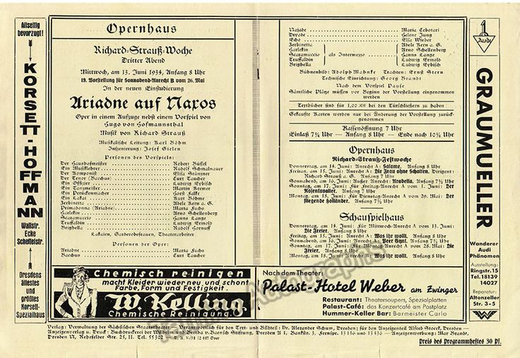 Bohm, Karl - Opera Cast Page Lot 1933-1939