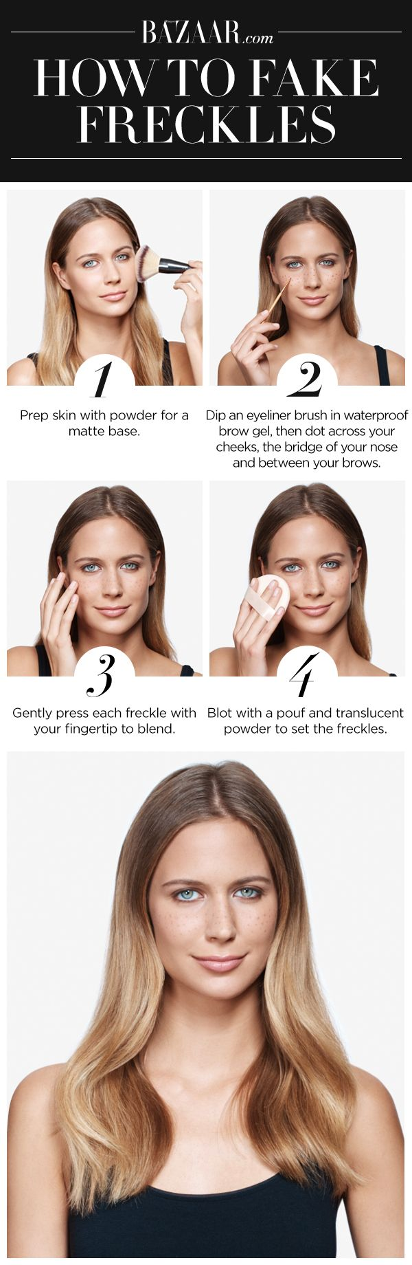 Summer Beauty 101: the step-by-step guide for how to fake freckles.