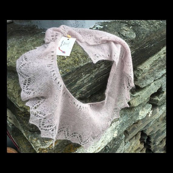 Pink shawl from Norwegian wool hand made