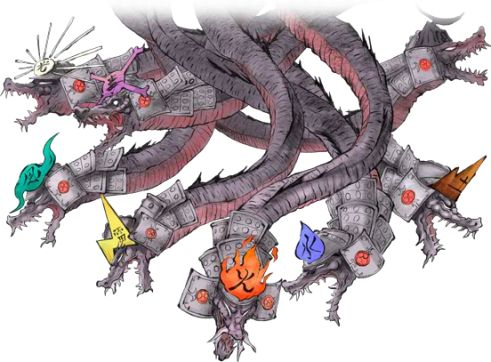 Yamata no Orochi (Japanese: 八岐の大蛇): Japanese & Shinto dragon with eight-heads & eight-tails, slain by the storm-deity Susanoo. Mentioned in the Japanese texts Kojiki & Nihongi.