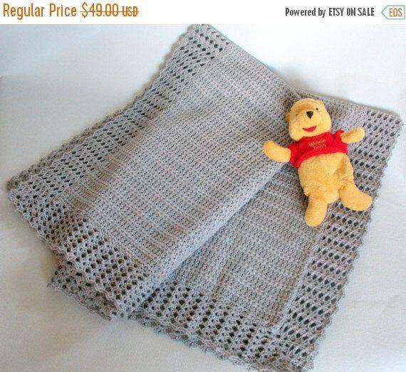 soft baby blanket neutral baby blanket crochet unisex baby blanket knit baby blanket boy baby blanket girl crib blanket gray