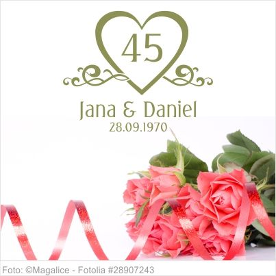 Wandtattoo Platin Hochzeit mit Namen und Datum