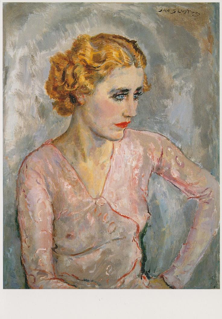 """Jan Sluiter """"Jonge vrouw met roze blouse"""" Olieverf op doek"""