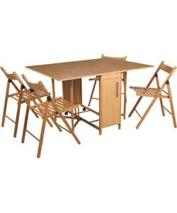 Butterfly Dining Table and 4 Oak Stain Chairs.