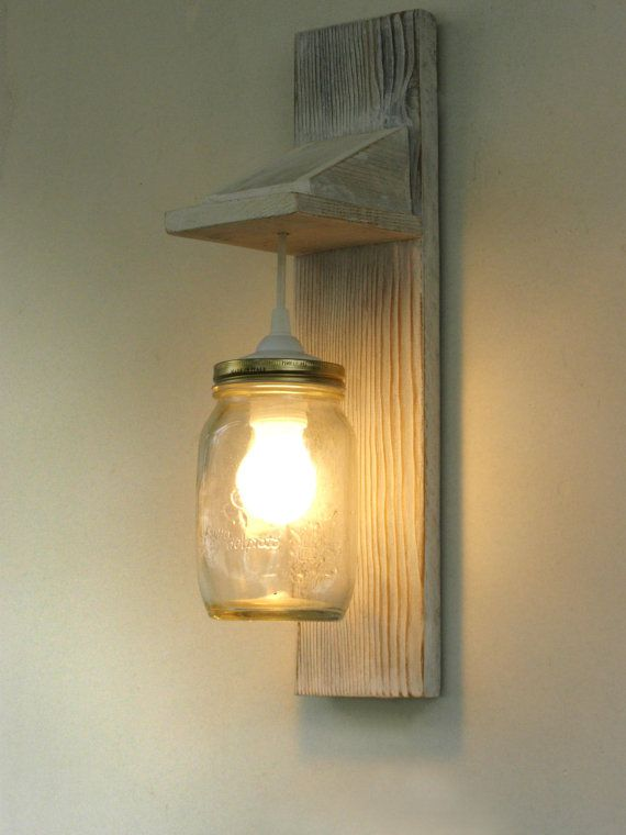 Bonificata legno Applique illuminazione Mason Jar di TassoStudio