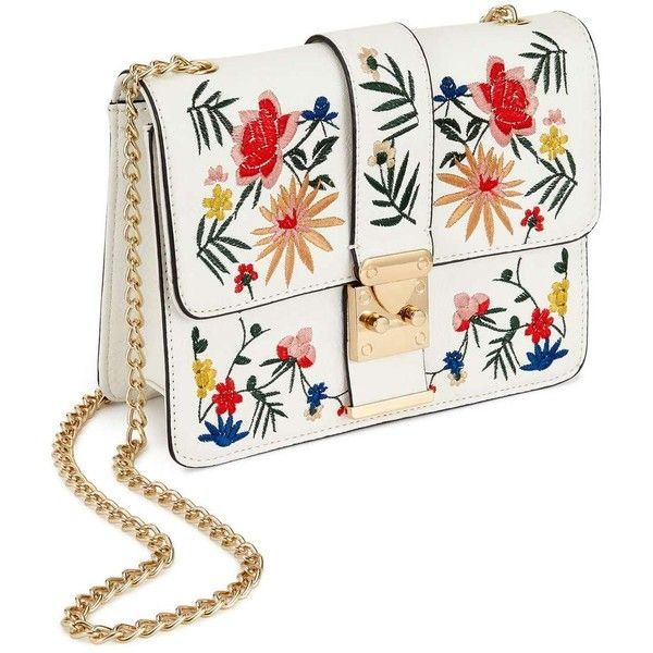 Miss Selfridge White Embroidered Cross Body Bag ($68) ❤ liked on Polyvore featuring bags, handbags, shoulder bags, white, chain shoulder bag, chain handle handbags, white handbags, pu handbag and embroidered purse