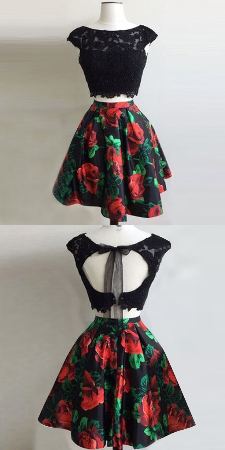Two Piece Homecoming Dresses,Bateau Homecoming Dresses,Open Back Homecoming Dresses,Short Homecoming Dresses,Black Homecoming Dresses,Floral Homecoming Dresses,Appliques Homecoming Dresses,Homecoming Dresses 2017
