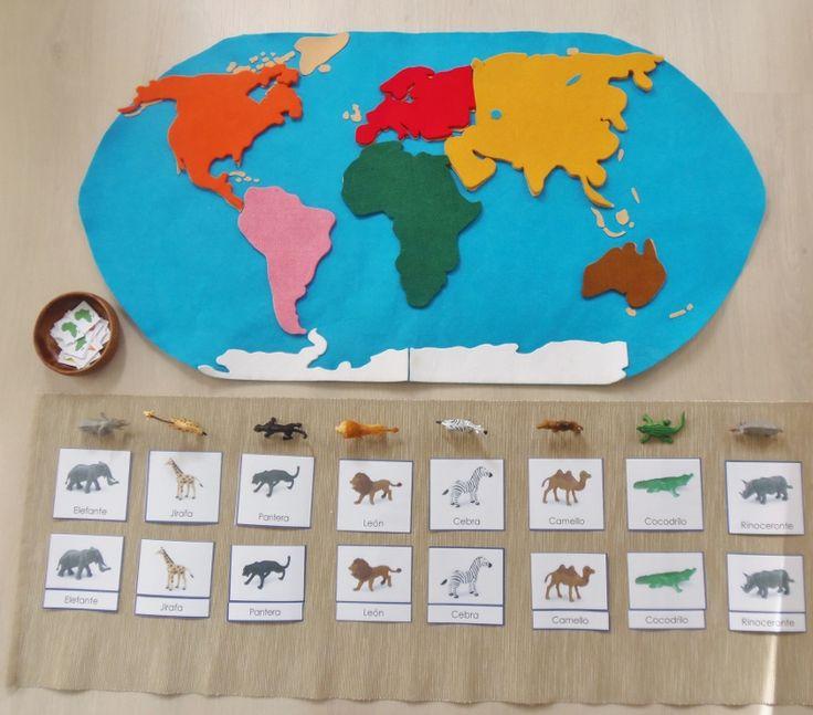 Animales y geografía con Safari Toobs (pegatinas para imprimir) - Animals and geography with Safari Toobs (printable stickers) • Montessori en Casa