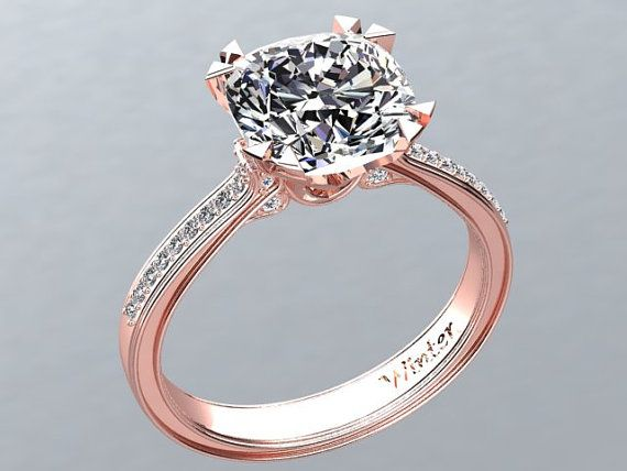 beautiful white sapphire engagement ring made in 14k rose gold inspired by victorian arts - Rose Gold Wedding Rings For Women