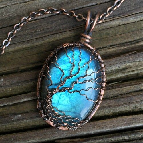Super Flashy Blue Labradorite Cabochon with Wire Wrapped Tree of Life Pendant Handcrafted by Ann White.  This pendant is Large and hangs 1 3/4 inches (45mm) from the top of the bail and is 1 inch (25m