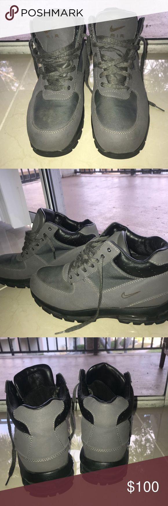 Nike grey acg boots Men's size 13 grey Nike acg boots, barley warn in spectacular condition. Nike Shoes Boots
