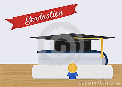 Graduation hat illustration with book and diploma for your project