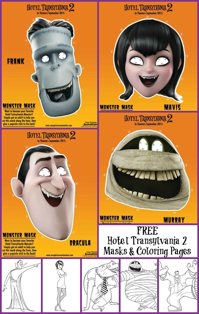 Free Hotel Transylvania 2 Masks And Coloring Pages Hotel