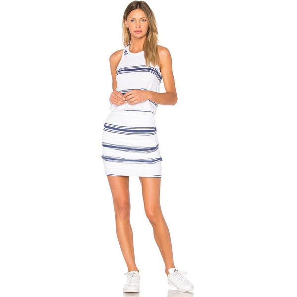 SUNDRY Navy Stripes Tank Dress (€125) ❤ liked on Polyvore featuring dresses, striped tank dress, ruched tank dress, stripe dresses, tank dresses and cotton dress