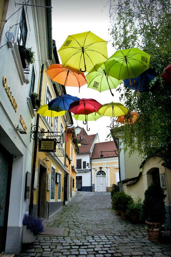 "visitheworld: ""Street umbrellas in Szentendre / Hungary (by Bernadett Nemeth)."""