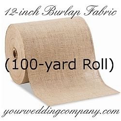 Burlap, also known as jute, is a perfect accent fabric for rustic, beach or vintage-themed weddings. Twelve inch wide burlap is best suited for tabletop runners, placemats, chair back decorations and pew decorations, etc. http://www.yourweddingcompany.com