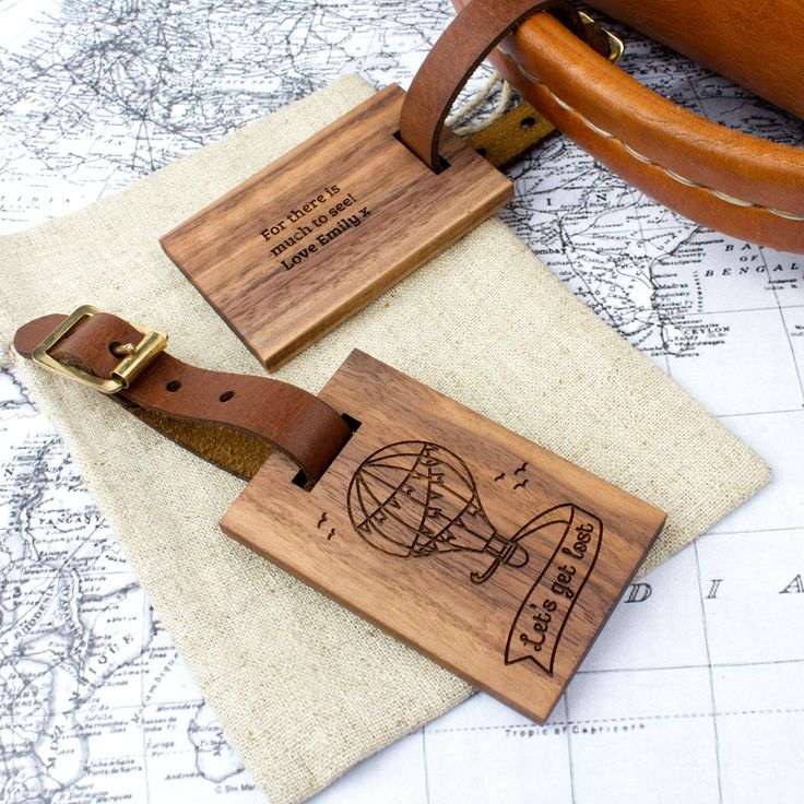17 best images about Personalised Wood and Leather Luggage Tags on ...