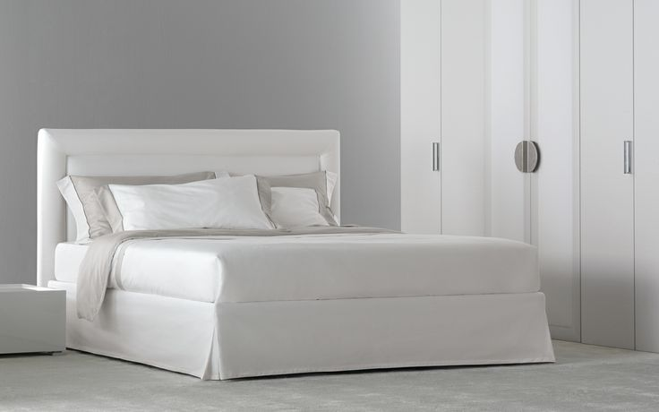 """This is the season for weddings, and the gift lists express your dreams and desires…  [Double Bed """"Pochette Pure"""" by Flou] #Beds #Bedroom #Letto #InteriorDesign #HomeDecor #Design #Arredamento #Furnishings #totalwhite #whitebed #whitebedroom #whitefurnishings"""