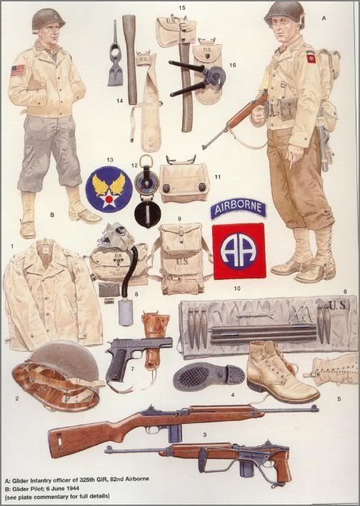 U.S. ARMY - 82th Airbourne Division (All American) - A. Glider Infantry officer of 325th GIR - B. Glider Pilot