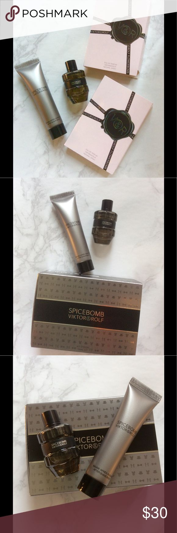 Viktor & Rolf Mini Spicebomb+Aftershave Balm+bonus New. Unused. No trades. Everything listed is authentic. Price firm. Perfect for travel. Perfect to try out or to add to your miniature collection. Please note size before purchasing. You will receive the following:  Viktor & Rolf Mini Spicebomb Eau de Toilette Splash 0.24 oz. Viktor & Rolf Spicebomb Aftershave Balm 0.5 oz.   Bonus: Viktor & Rolf Flowerbomb Eau de Parfum 0.04 oz. x 2  Selling as a set. Viktor & Rolf Makeup