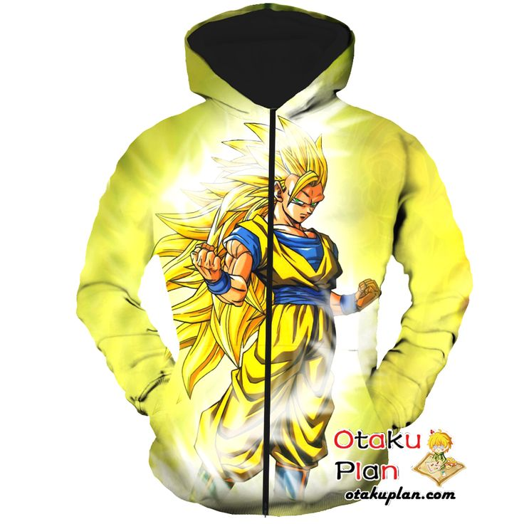 DBZ Goku Super Saiyan 3 Gold Zip Up Hoodie - Dragon Ball Z 3D Zip Up Hoodies And Clothing  #stuff #animelover #merchandise #animeboy #animeart #anime #comic