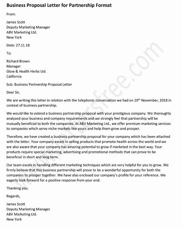 Sample Business Proposal Letter For Partnership Best Of