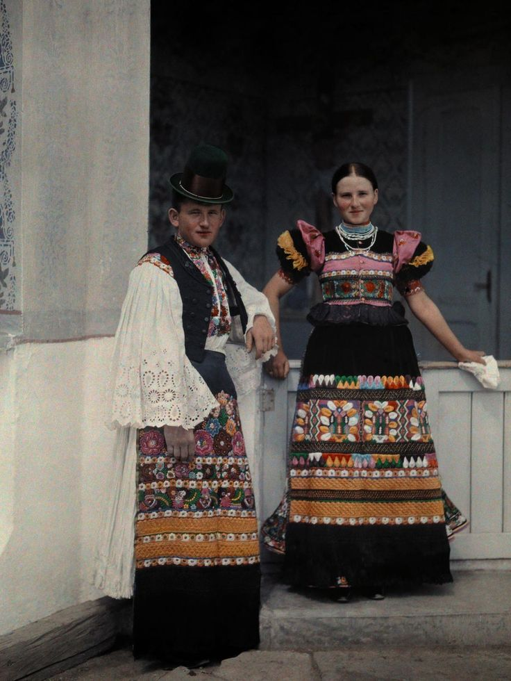 Portrait of a young bridal couple dressed in typical bridal costume. Mezokovesd, Borsod, Hungary. 1930. Photograph by Hans Hildebrand, NATIONAL GEOGRAPHIC CREATIVE