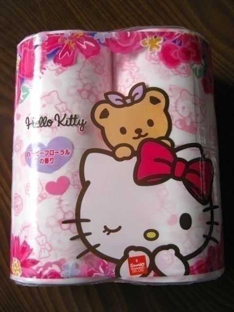 Hello Kitty toilet tissue paper 4 rolls only rare item with rose smell
