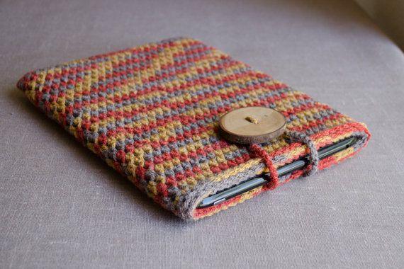 iPad Case in Pumpkin Brown Beige Yellow - Crochet Tablet Case by natalya1905, $39.00
