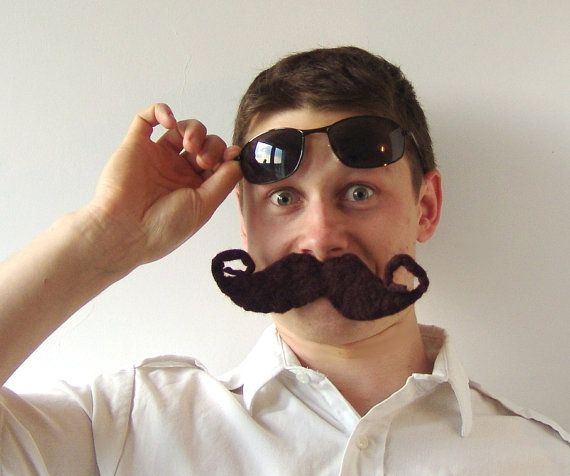 Felt brooch moustache  dark brown by galafilc on Etsy, $10.00