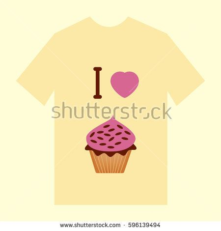 Light yellow  T-shirt with image of cupcake saying I love cupcake for the bakery stuff