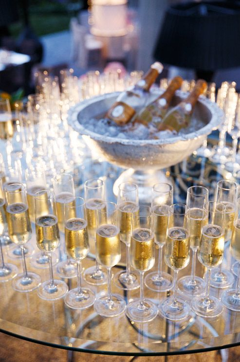 Champagne display in the round for guest arrivals.