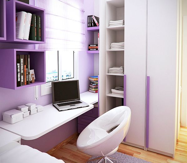 Love the shelves and that chair. It's also in a really cute lavender color paired with white furniture.