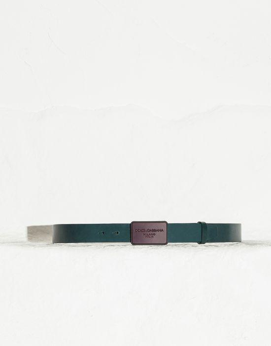 VEGETABLE-TANNED LEATHER BELT WITH LOGO - Belts - Dolce&Gabbana - Summer 2015